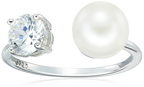 Platinum-Plated Sterling Silver Cubic Zirconia Freshwater Cultured White Pearl Ring, Size 6 ()