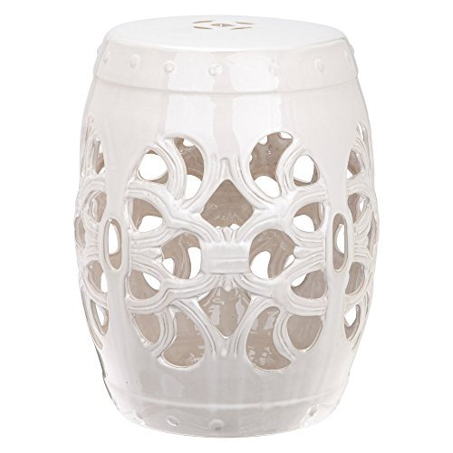 Safavieh Castle Gardens Collection Imperial Vine Antique White Glazed Ceramic Garden Stool - White Garden Stool