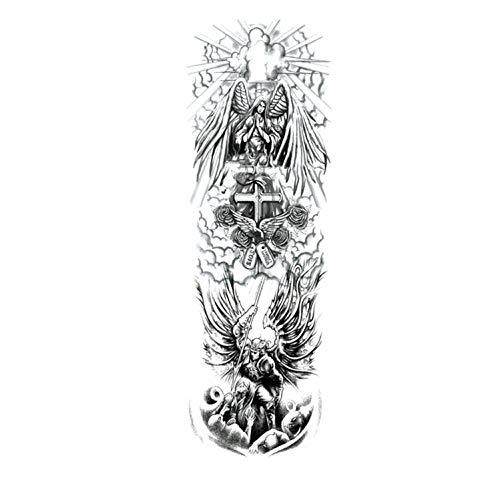 (Large Arm Sleeve Tattoo Sketch Lion Tiger Waterproof Temporary Tattoo Sticker Wild Animal Men Bird Totem Tattoo,A11)