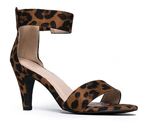 (J. Adams Ankle Strap Open Peep Toe High Heels, Leopard Suede, 9 B(M) US)
