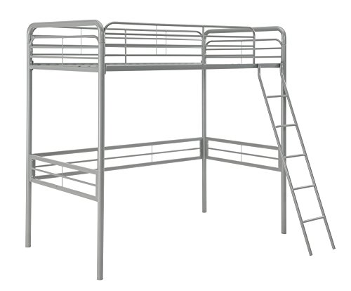 DHP Simple Metal Loft Bed Frame, Multifunctional, Twin Size, Silver (Dorm Room Loft Beds)