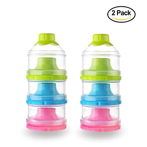 Accmor Baby Milk Powder Formual Dispenser, Non-Spill Stackable Snack Storage Container, BPA Free,3 Feeds