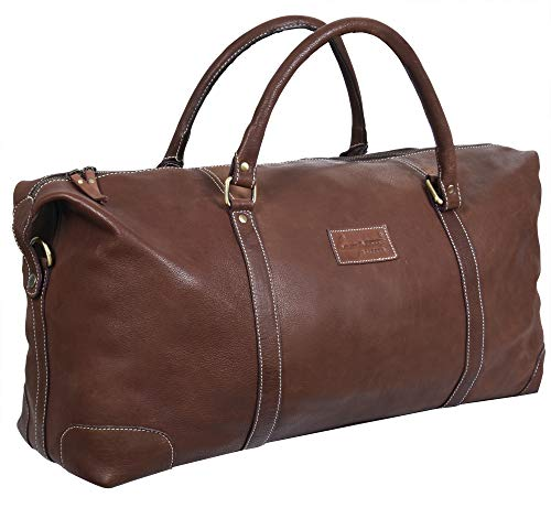 Tan Real Leather Duffle Travel Gym Weekend Carry On Bag