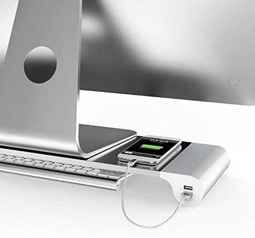 Laptop Stand EU Plug Aluminum Alloy Monitor Space Bar Dock Desk Riser with 4 USB Ports for iMac MacBook Computer Laptop Gadgets