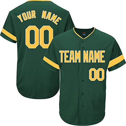 Hunter Green Custom Baseball Jersey for Men Women Youth Full Button Embroidered Team Name & Numbers S-5XL Yellow White Striped
