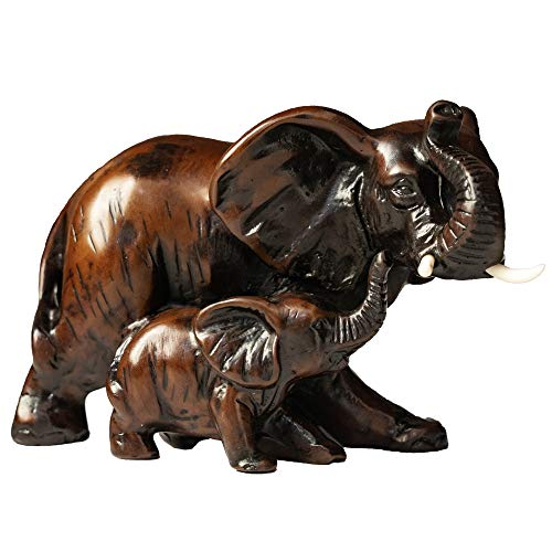 (IYARA CRAFT Resin feng Shui Elephant Animal Statues - Decorative Elephant Family Statues on Wave - Ideal for Modern & Rustic Settings - Mother and Child of Elephant Animals Figurine)