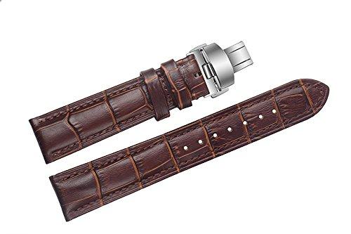 15mm braun Ersatz Uhrenarmbänder / Bands für Luxusuhren italienischen Leder Faltschließe normale Länge
