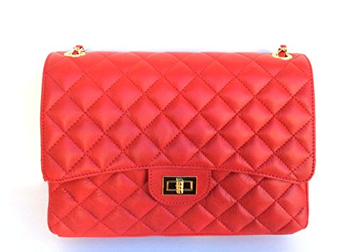SUPERFLYBAGS Women's Genuine Quilted Italian Leather Handbag model #Parigi XL Made in Italy Red