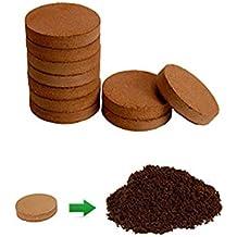 "Wonder Soil Compressed Grow Medium Disks - Ten 4"" Diameter Bricks - Grow Tomato, Herbs, Flowers, Plants - Log Roll"