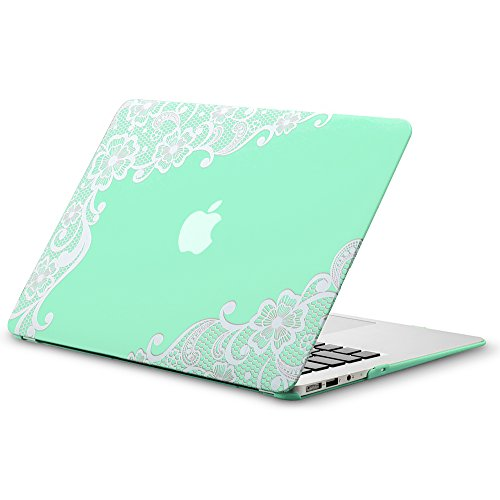 Kuzy MacBook Air 13 inch Case A1466 A1369 Soft Touch Cover for Older Version 2017, 2016, 2015 Hard Shell - Lace Mint