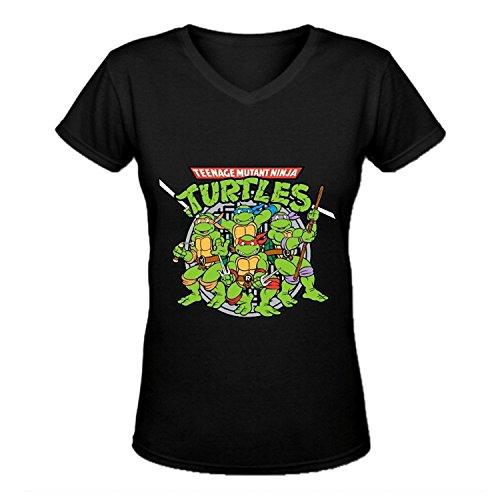 LOV-Tshirts Teenage Mutant Ninja Turtles V-Neck Cotton Fashion T Shirt For Womens