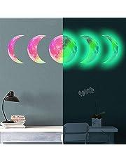 Auhota Muurstickers, 5 stuks, maanfase, zelfklevende fluorescerende maanfase, 30 cm (11,8 inch), verwijderbare lichtgevende maan, lichtgevende sticker, deken voor woonkamer, kinderkamer, slaapkamer (groen)