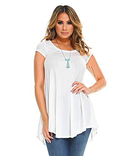 Isaac Liev Women's Short Sleeve Flowy Tunic (Ivory, Large) (Round White Off Top)
