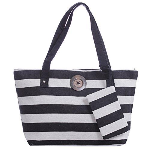 Bolso de lona con diseño de rayas, para vacaciones y playa, estilo vintage black white thick stripe