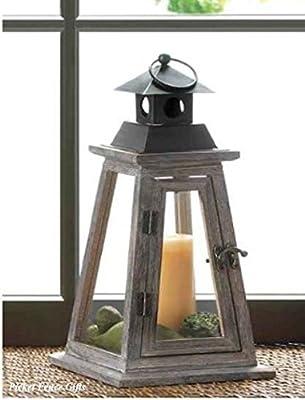 Candle Lantern Rustic Wood Pyramid Design