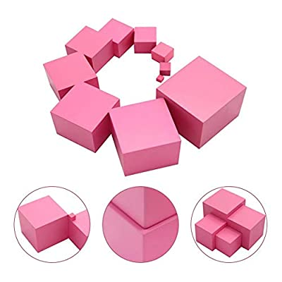 Montessori Pink Tower Wooden Montessori Material Toy - 10 Pink Cubes with Decreasing Length by dissylove: Baby