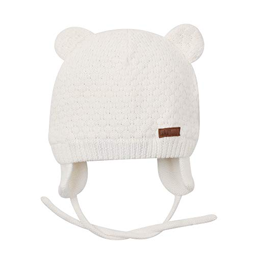 BAVST Baby Beanie Hat for Winter with Earfalp Cute Bear Kids Toddler Girls Boys Warm Knit Cap for 0-2Years (White 2, M(4-10M)) ()