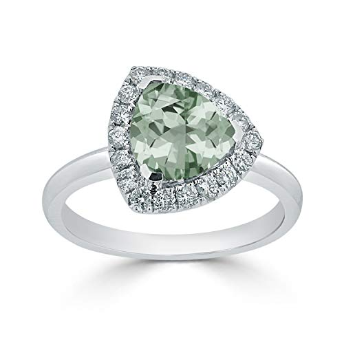 Diamond Wish 14k White Gold Halo Diamond Engagement Ring with 1 1/2 ct Triangle-Cut Green Amethyst Gemstone and 1/4 ct TDW, Size 7
