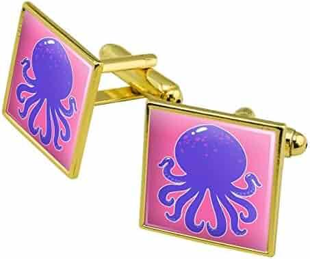 c34d9fa23065 GRAPHICS & MORE Cute Octopus Tentacles Ocean Square Cufflink Set - Silver  or Gold
