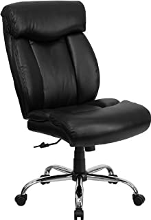 Flash Furniture HERCULES Series Big u0026 Tall 400 lb. Rated Black Leather Executive Swivel Chair  sc 1 st  Amazon.com & Amazon.com: Flash Furniture Mid-Back Armless White Ribbed Leather ...