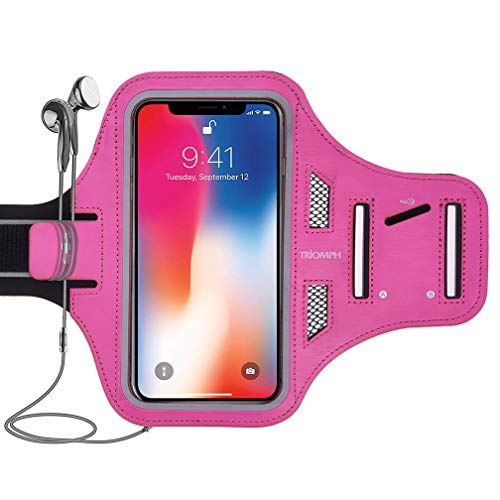Triomph Water Resistant Phone Armband Case for iPhone Xs Max, XR, Xs, X, 8 Plus, 7 Plus, 6 Plus, 6S Plus, iPod Samsung Galaxy S9 Plus, S8 Plus with Adjustable Elastic Band & Key Card Holder, 6.5''