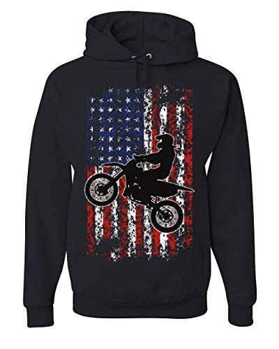 Dirt Bike American Flag Hoodie Extreme Enduro Motocross Rider Sweatshirt Black M