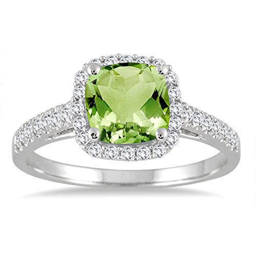 (Peridot and Diamond Ring in 10K White Gold)