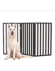 """Wooden Pet Gate- Tall Freestanding 3-Panel Indoor Barrier Fence, Lightweight & Foldable for Dogs, Puppies, Pets- 54 X32"""" (Dark Brown)"""