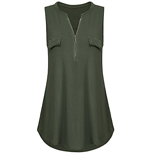 New!Qingell Women Summer Casual Loose Button V-Neck Solid Cami Vest Blouse Sleeveless Long Tunic Tees Green