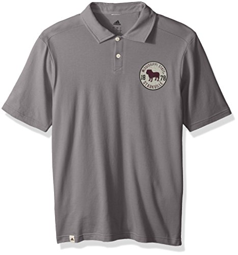 adidas NCAA Mississippi State Bulldogs Adult Men Crackled Badge S/Polo, X-Large, (Mississippi State Golf Gear)