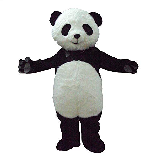 Fluffy Jingjing Panda Mascot Costume Outfit Adult Size Cartoon Halloween Fancy Dress (XL - 5'11'' to -