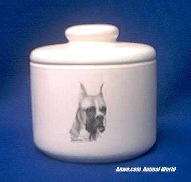 (Boxer Dog Jar Porcelain)