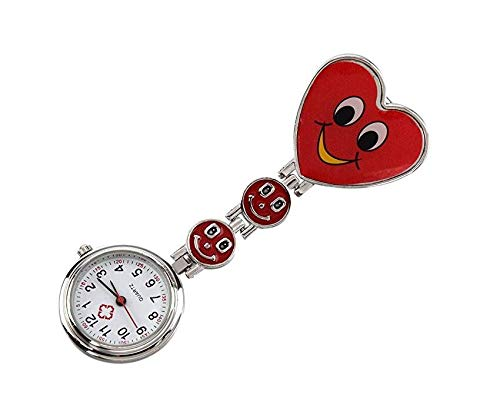 Lihin Christmas Indoor Decoration Nurse Pocket Watches,Heart-Shaped Alloy Movement Clip Nurse Brooch Fob Watch Smiley Face (Red)