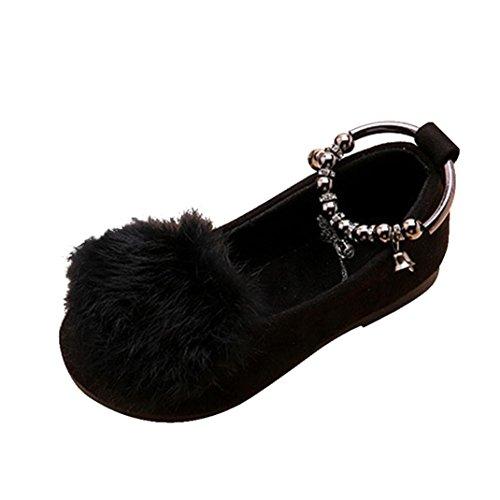 TPulling Mädchen Herbst Und Winter Pelz Prinzessin Schuhe Warm Samt Schneeschuhe Schwarz