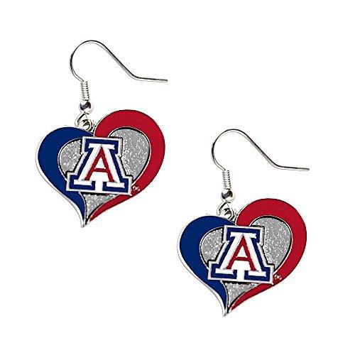 aminco Arizona Wildcats Swirl Heart Dangle Logo Earring Set Charm Gift NCAA