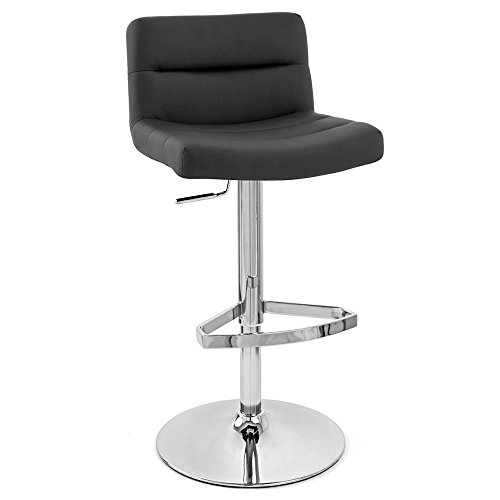 Zuri Furniture Black Lattice Adjustable Height Swivel Armless Bar Stool ()