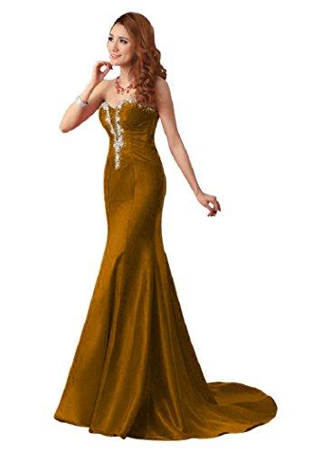 Braun Kristall Meerjungfrau lang Beauty trägerlos Abendkleider Emily xqpwW78F