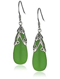 Sterling Silver and Green Jade Teardrop Earrings