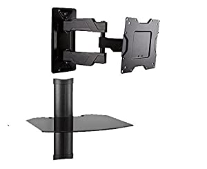 full motion hd led tv wall mount with floating component shelf for television or display by omnimount oc80fm full motion tv mount with dvdcable
