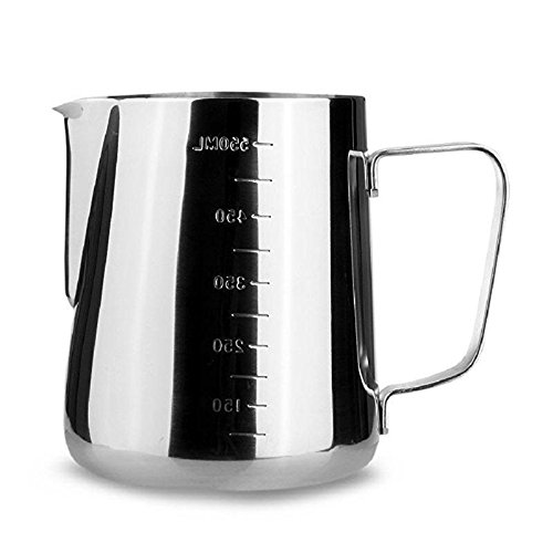 iCoffee Milk Frothing Pitcher 20 oz (600 ml) HEAVY 1.2MM Thickness FOODGRADE 18/10 Stainless Steel with INDELIBLE Measurements on BOTHSIDES for Coffee Espresso Maker Milk Frothing Steaming Pitcher by iCoffee Brand (Image #5)