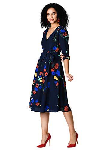 eShakti Women's Pleated Floral Print Crepe midi Dress L-14 Regular Deep Navy Multi