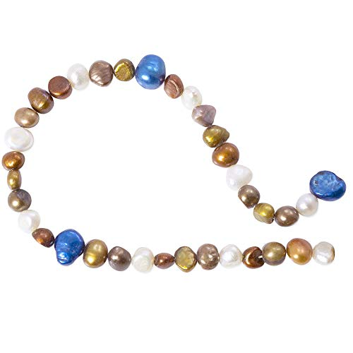 (Freshwater Potato Pearl Bronze/Blue Mix 5-10mm (16 inch Strand))