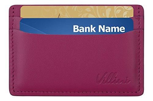 Villini Leather Slim Credit Card Holder - Thin Front Pocket Wallet - Compact Minimalist Card Case (Deep Pink)