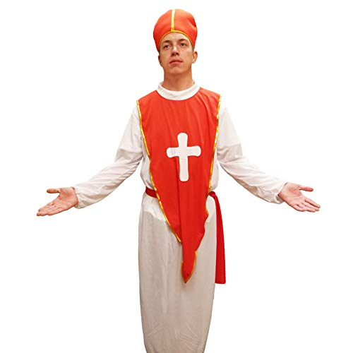 Joyfay Pope Costume- Bishop Costume with Long White Cassock Robe, Mitre Hat, and Stole Cloak, 100% Polyester