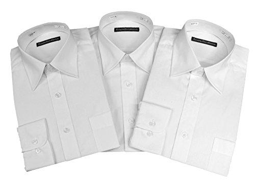 解決見落とす休憩(レインポウ コレクション) Rainpow Collection 長袖 レギュラー 白無地 ワイシャツ 3枚セット Mサイズ