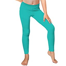Stretch is Comfort Girl\'s Set Of 3 Cotton Footless Leggings Turquoise Medium