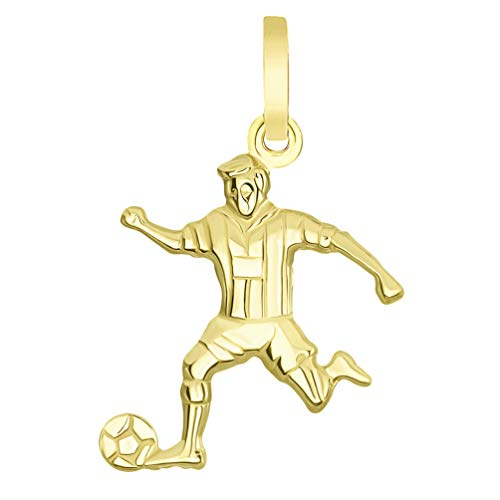 Solid 14k Yellow Gold Soccer Player Kicking Ball - Soccer Player 14k