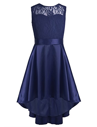 YiZYiF Big Girls Princess Wedding Dance Ball Gown Party V-Back Lace Dress With High Low Hem Navy Blue 14