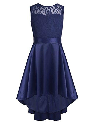 YiZYiF Big Girls Princess Wedding Dance Ball Gown Party V-Back Lace Dress with High Low Hem Navy Blue 14