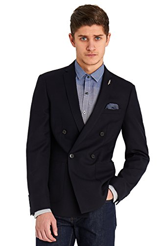 Moss London Men's Slim Fit Navy Double Breasted Palm Blazer 40R Blue